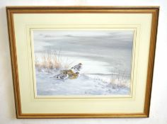 AR Richard Robjent (Born 1937), Long-tailed Ducks in Winter, watercolour, signed and dated 1985