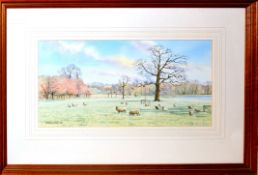 """Dianne Branscombe, """"Sheep at Blickling"""", watercolour, signed and dated 1990 lower left, 17 x 34cm"""