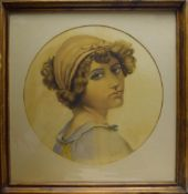 Ella Bavid?, Head and shoulders portrait of a girl, watercolour, indistinctly signed lower right,