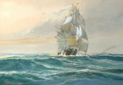 """W Knox, """"In home waters"""", watercolour, signed and dated 1919 lower left, 25 x 36cm"""
