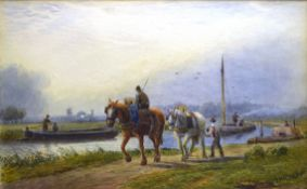J MacPherson, River scene with workmen, horses and barges, watercolour, signed lower right, 14 x