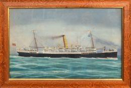 Neapolitan School (19th century), RMS Orontes, gouache, 37 x 59cm