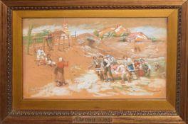 Lajos Deak Ebner, The Rescue, watercolour, signed lower left, 15 x 27cm