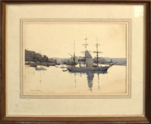 Frederic Leach, Boats at harbour, watercolour, signed and dated 1912 lower left, 23 x 32cm