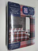 Union Rustic Morwenna 200 TC Duvet Cover Set, Size: Double, Colour: Charcoal/Red, RRP £23.99