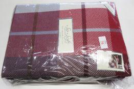 Alpen Home Check Brushed Cotton 150 TC Duvet Cover Set, Size: Kingsize - 2 Pillowcases, Colour: Red,