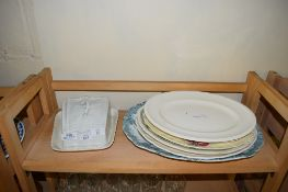 CERAMIC SERVING DISHES AND A CHEESE DISH AND COVER