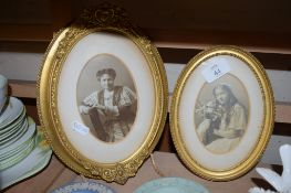 TWO 19TH CENTURY PORTRAITS IN GILT FRAMES