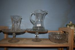 GLASS WARES INCLUDING A GLASS TAZZA AND FRUIT BOWL