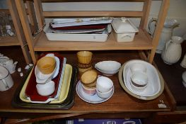 POTTERY KITCHEN WARES, SERVING DISHES AND RAMEKINS