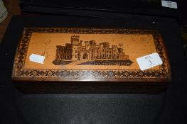 TONBRIDGE WARE BOX DECORATED WITH A VIEW OF A CASTLE
