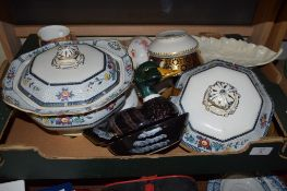TRAY OF CERAMIC ITEMS INCLUDING TWO TUREENS, SUGAR BOWL AND VARIOUS CUPS AND SAUCERS