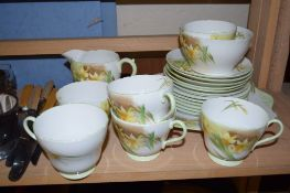 SHELLEY DECO STYLE TEA SET DECORATED WITH A PRINT OF DAFFODILS PATTERN NO 13670 COMPRISING FIVE