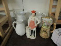 QUANTITY OF 19TH CENTURY POTTERY INCLUDING A LARGE JUG MOULDED IN RELIEF WITH SCENES FROM THE GOOD