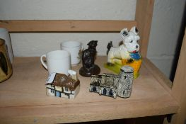 CERAMIC ITEMS INCLUDING TWO SMALL MODELS OF COTTAGES AND TWO GOSS STYLE CUPS