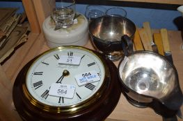 WALL CLOCK AND TWO PLATED JUG AND BOWL