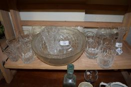 GLASS WARE INCLUDING TWO FRUIT BOWLS AND TUMBLERS