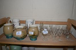 POTTERY VASES DECORATED WITH GALLEONS, TOGETHER WITH TWO HOLKHAM POTTERY MUGS AND GLASS WARE
