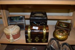 SMALL WOODEN JEWELLERY CASKET WITH BRASS FITTINGS TOGETHER WITH SOME ANTIQUE BISCUIT TINS