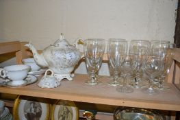 LATE 19TH CENTURY STAFFORDSHIRE TEA POT TOGETHER WITH TWO CUPS AND SAUCERS AND GLASS WARES