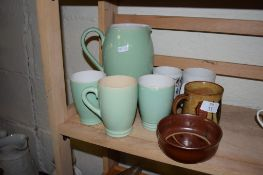 POTTERY ITEMS INCLUDING SET OF JUG AND THREE BEAKERS BY LOVATT