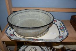 POTTERY BOWL AND SERVING DISH