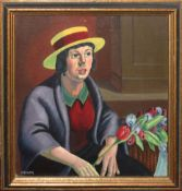 "•AR Sidney F Homer, RBSA (1912-1993), ""The Flower Seller"", oil on board, signed lower left, 27 x"