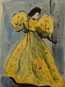 "•AR Elinor Bellingham Smith (1906-1988), ""The Yellow Dress"", watercolour, 35 x 24cm. Provenance:"