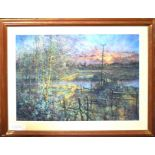"•AR John Nichol (contemporary), ""View of the Stour III"", pastel, signed lower left, 78 x 109."