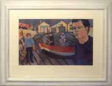 AR Derek Inwood (1925-2012), Sheringham Lifeboat Station with figures, oil on board, 34 x 55cm