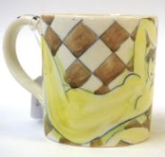 •AR Tessa Newcomb (born 1955), Hand painted mug with reclining nude, initialled and dated 2001 to