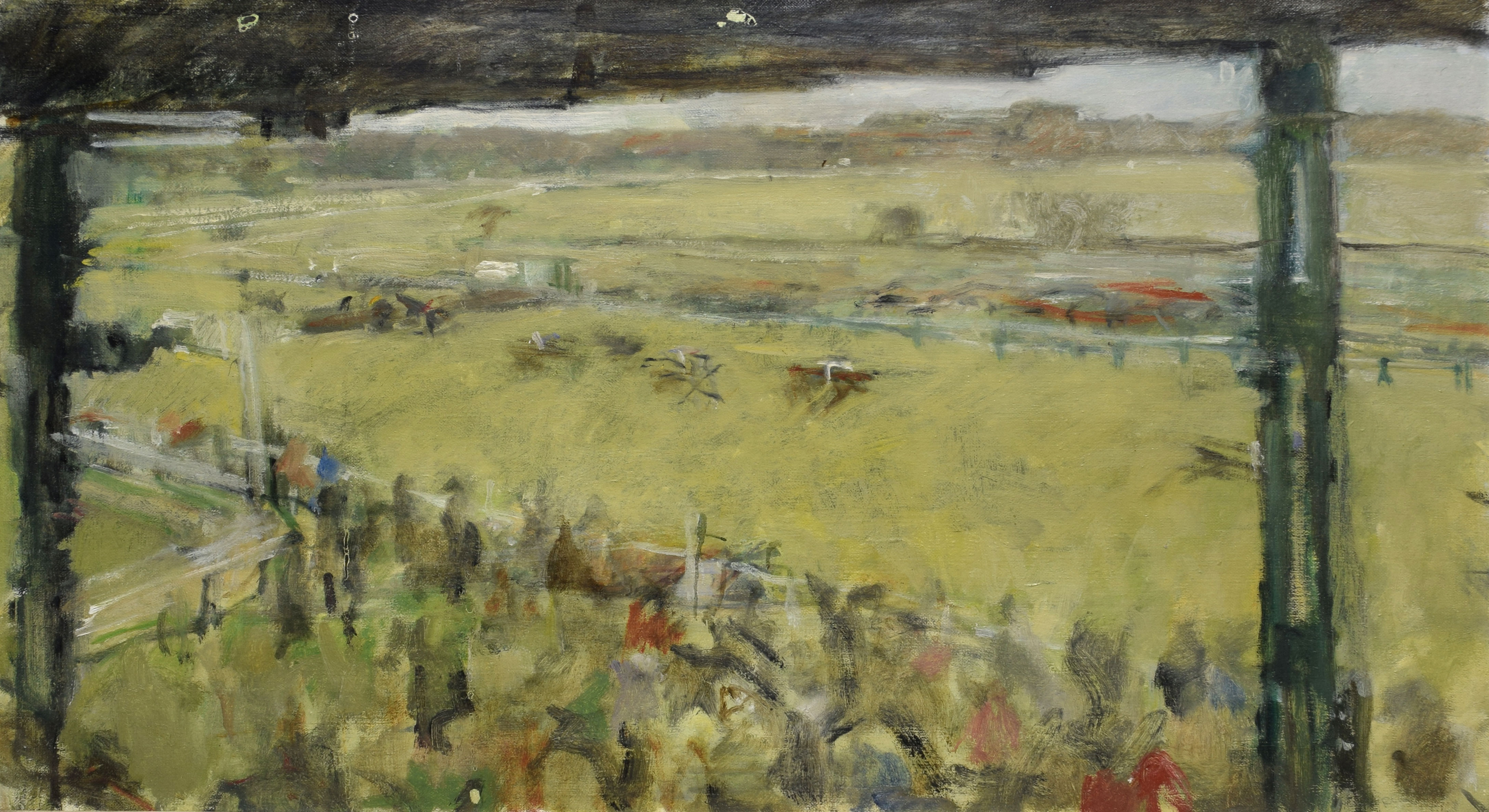 •AR Dick Lee (1923-2001), Fakenham races, oil on canvas, indistinctly signed lower right, 40 x 60cm