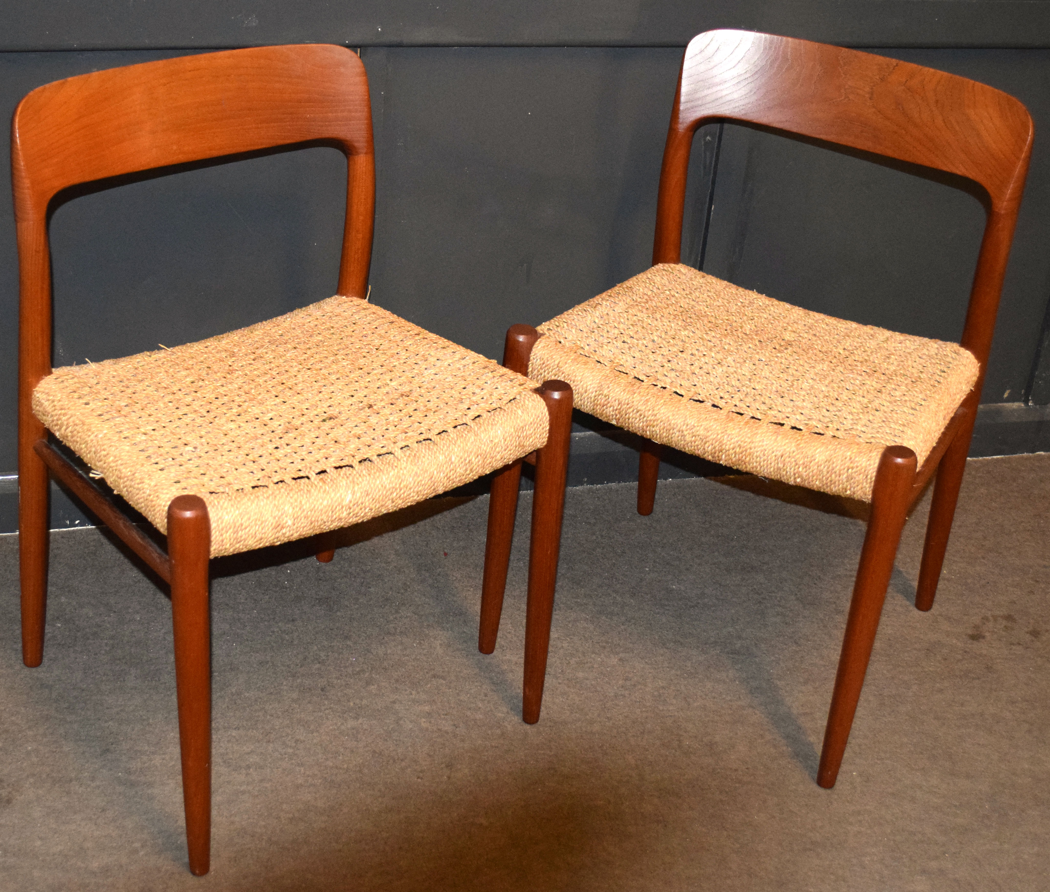 Niels Moller for J L Moller, set of four Danish teak dining chairs with string seats, chairs stamped - Image 3 of 5