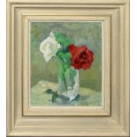 "•AR Robert Lyon, RP, RBA, SMP, ARCA (1894-1978), ""Roses"", oil on board, signed lower right, 20 x"
