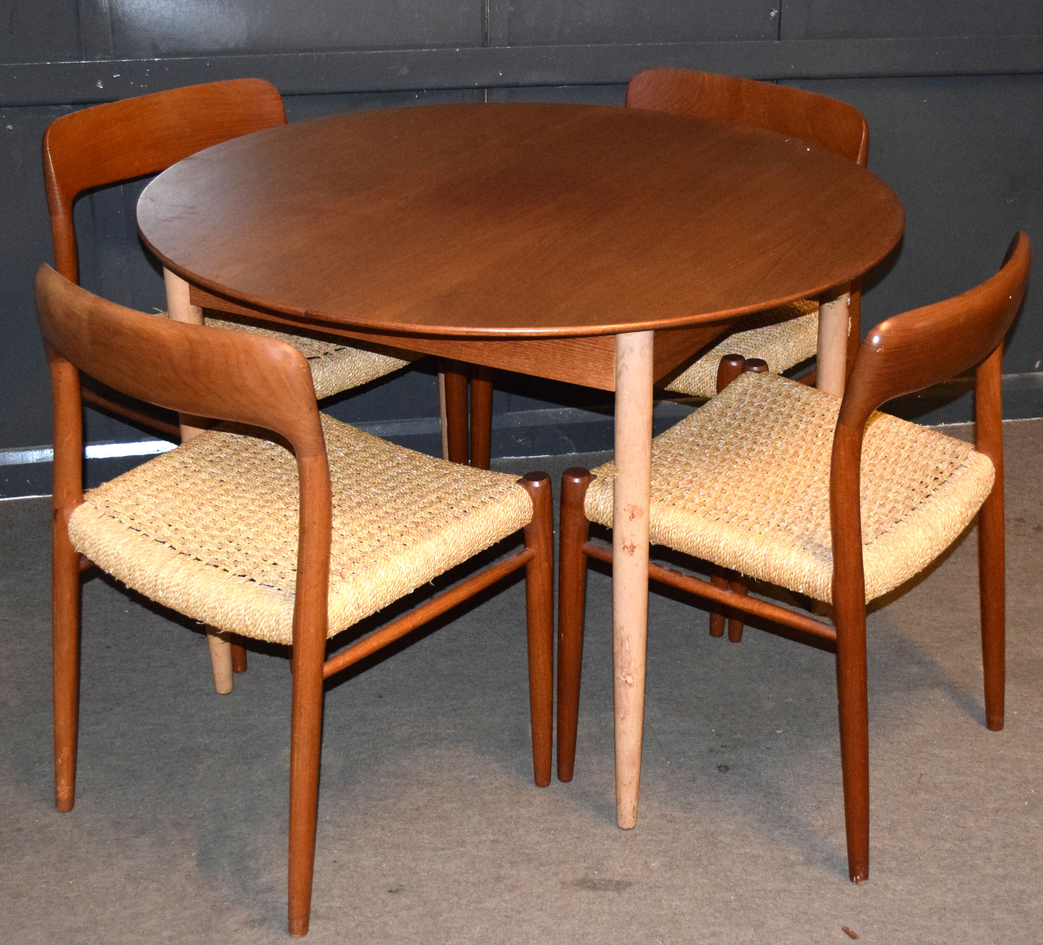 Niels Moller for J L Moller, set of four Danish teak dining chairs with string seats, chairs stamped