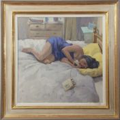 British School (contemporary), Lady reclined on a bed on the telephone, oil on canvas, 39 x 39cm