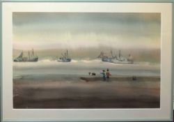 "•AR Sybil Mullen Glover (1908-1995), ""Fishing on the beach"", watercolour, signed lower right, 34 x"
