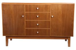 Mid-century sideboard with four central drawers flanked on either side by cupboards with plain