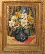 Modern British School (20th century), Still Life study of mixed flowers in a vase, oil on panel,