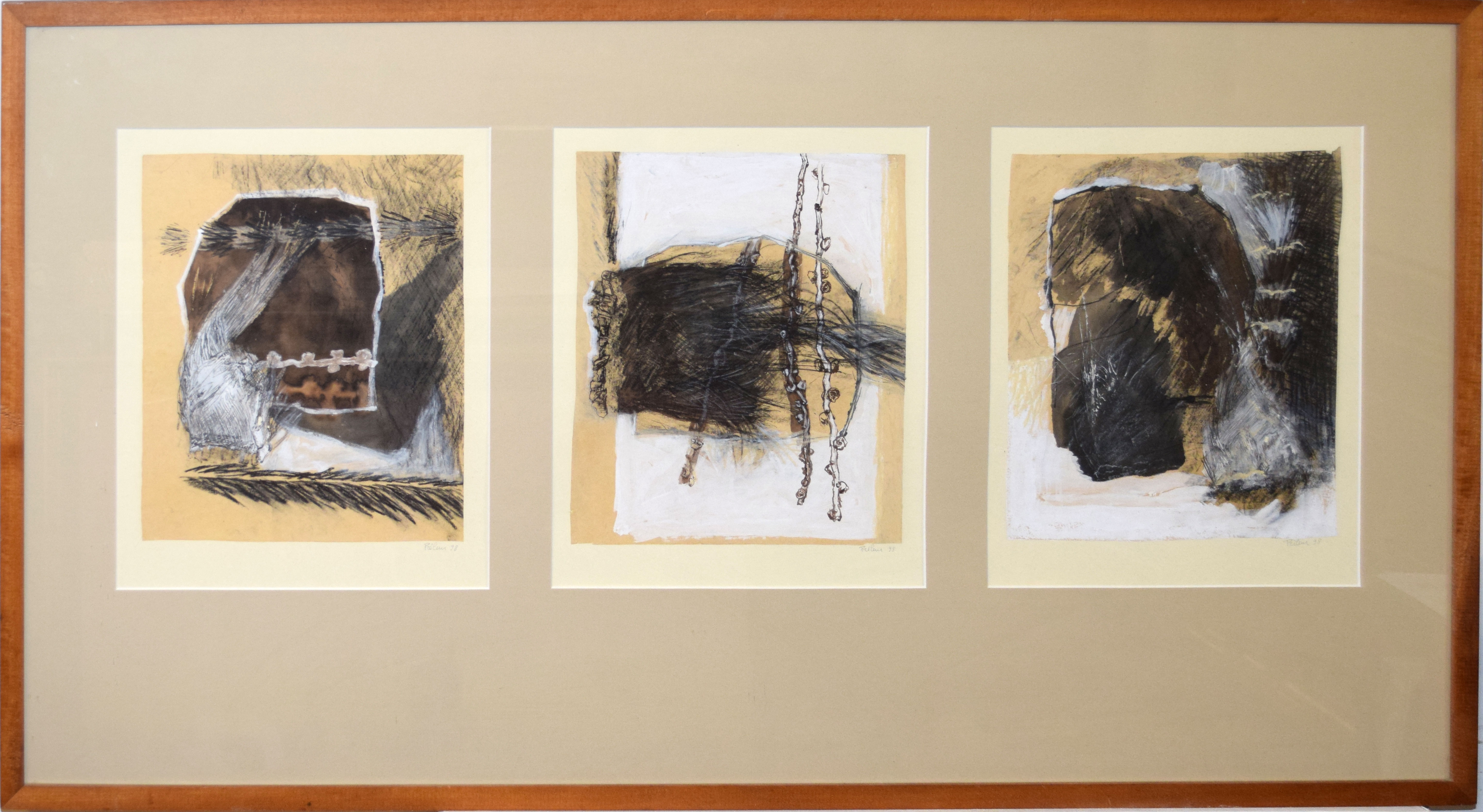 Florence Nicole Preleur-Poulain (20th century), Abstract triptych, three mixed medias in one