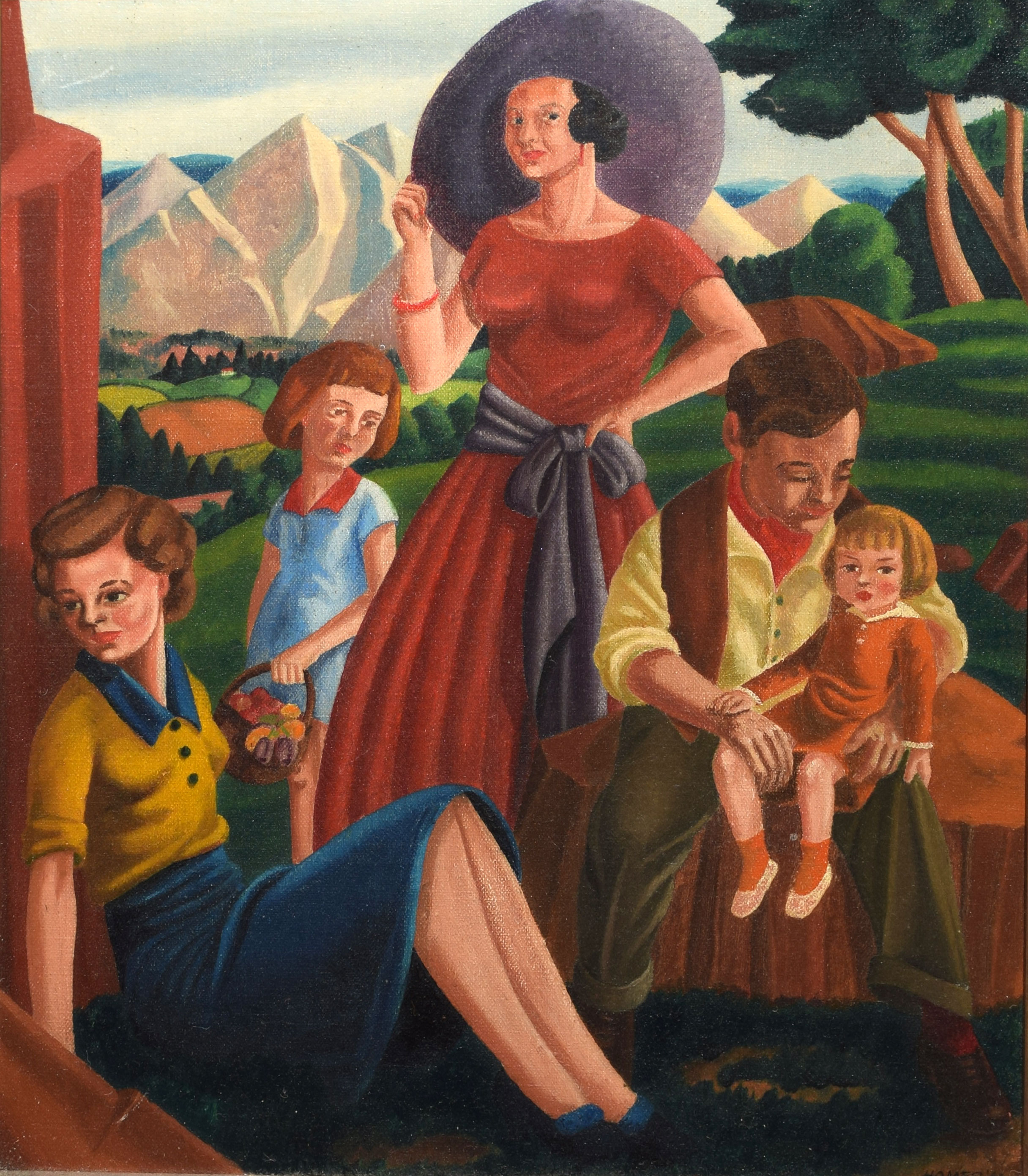 """•AR Sidney F Homer, RBSA (1912-1993), """"Holiday"""", oil on board, signed and dated 40 lower right, 31 x"""