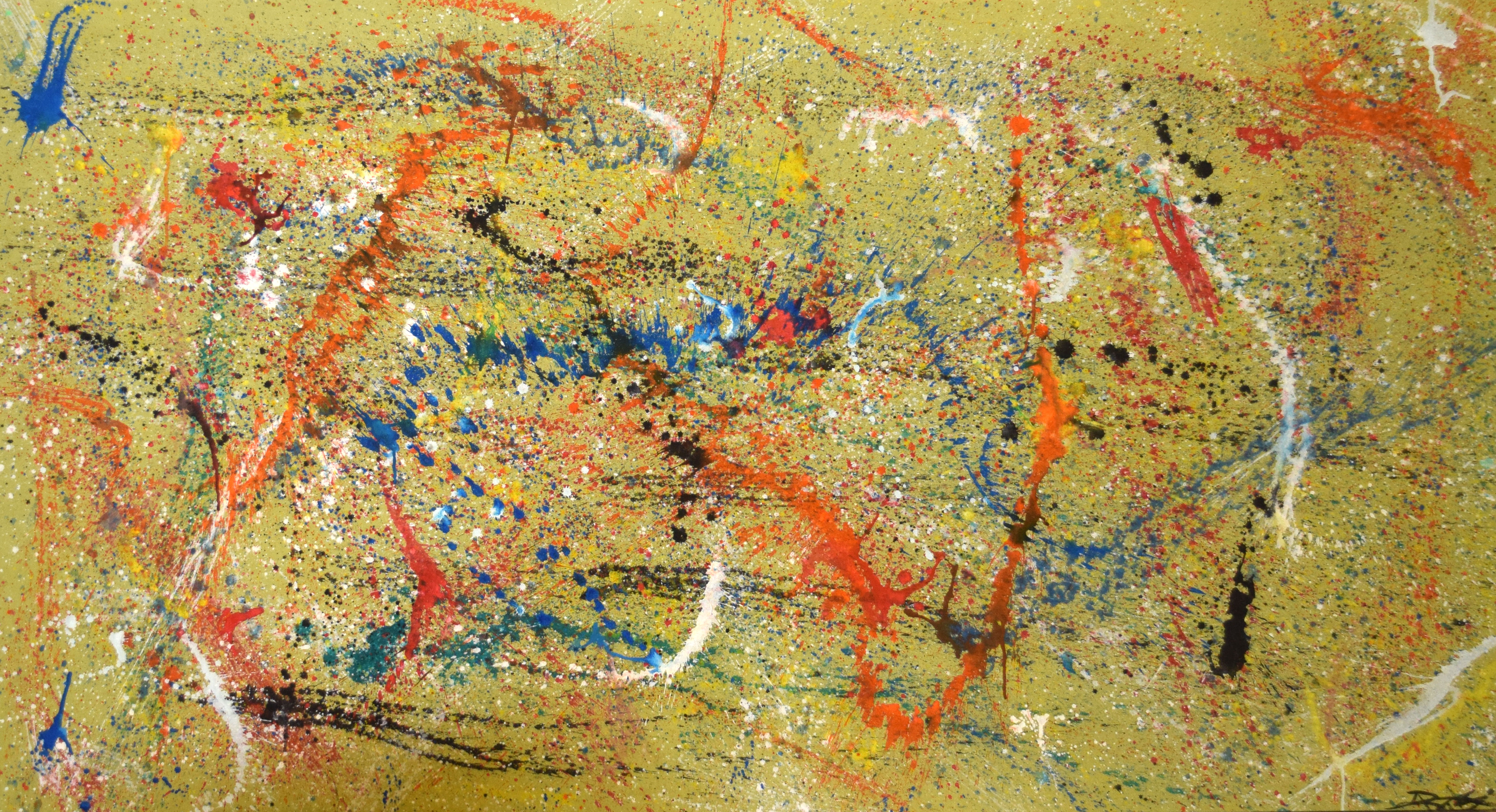 Modern School (20th century), Abstract composition, oil on canvas, indistinctly signed lower right
