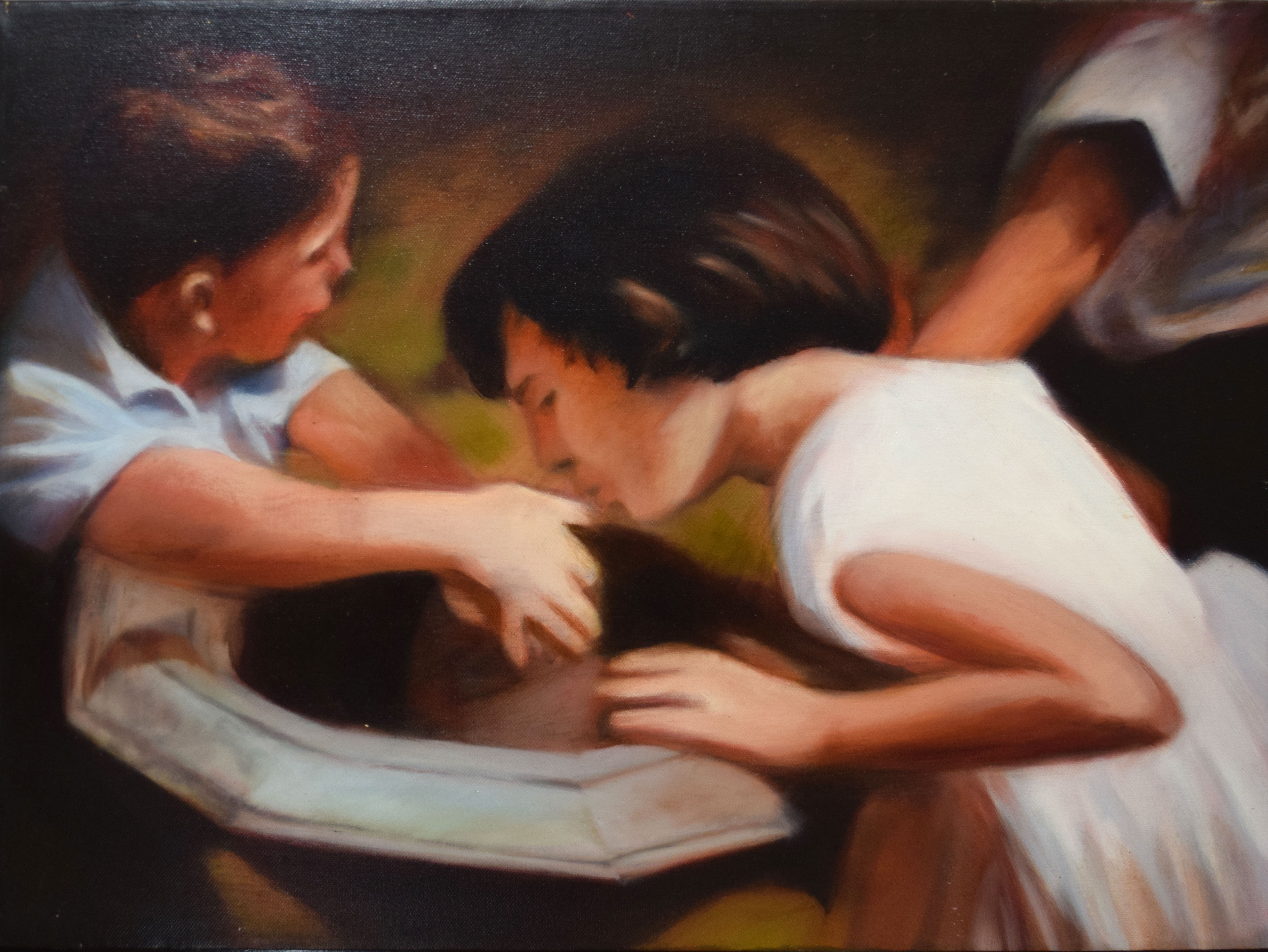 •AR Luke Morgan, Children at a fountain, oil on canvas, signed and dated 2002 to stretcher verso, 46
