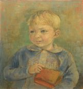 Aldridge (20th century), Portrait of a young boy holding a tin, oil on canvas, signed and dated 60