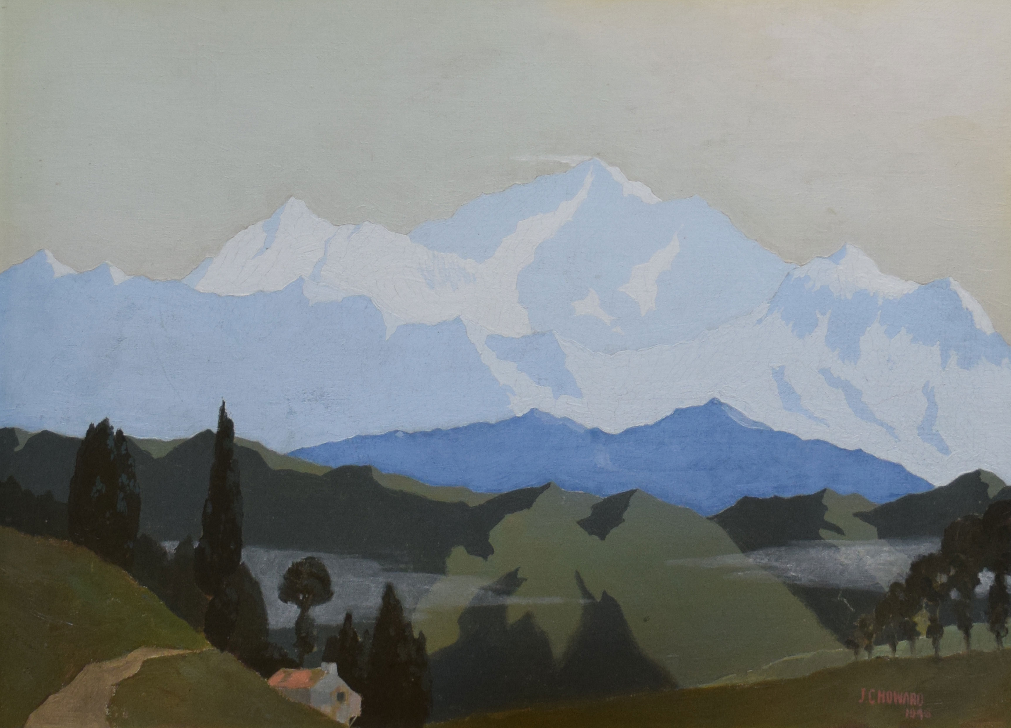•AR James Campbell Howard (1906-1988), Mountain landscapes, pair of oils on board, signed and - Image 2 of 2