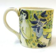 •AR Tessa Newcomb (born 1955), hand painted mug with figures and fruit, initialled and dated 2001 to