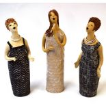 Hilda Humphries (20th century), three pottery figures, modelled as soprano singers, each approx 30cm