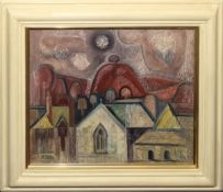 "•AR Richard Slater, RI (born 1927), ""Chapel and Red Hill"", oil on board, signed lower left, 25 x"
