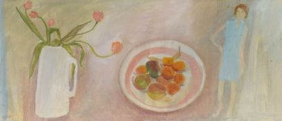 •AR Tessa Newcomb (born 1955), Flowers, fruit bowl and figure, oil on card, initialled and dated
