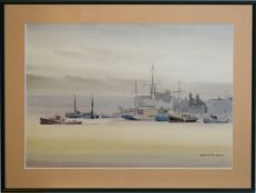 •AR Sybil Mullen Glover (1908-1995), Boats in a harbour, pen, ink and watercolour, signed lower